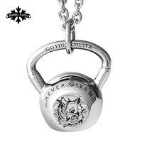 Kettlebell Necklace Fitness For Men And Women Rhinoceros Head Logo Stainless Steel Pendant