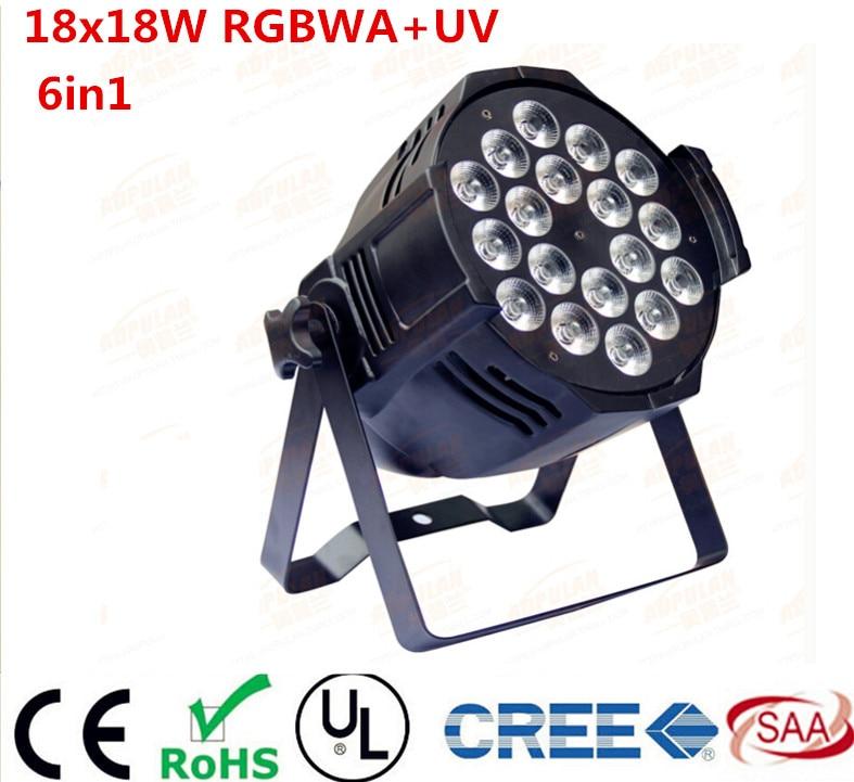DJ Par Cans RGBWA UV 6IN1 18X18W LED Par Cans Waterproof Rating IP20 Aluminum Black Housing 90V-240V dj стойка athletic dj 6 desk