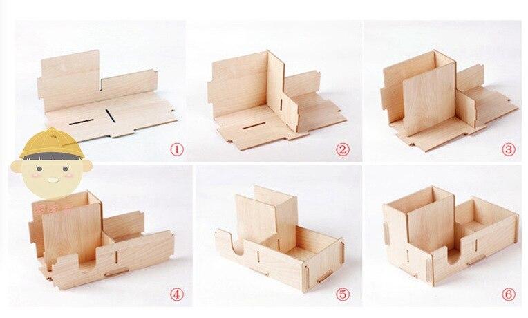 Free Shipping Korea Office Desktop Wood Diy 3cell Makeup Clean Up Cosmetic Box Pen Storage