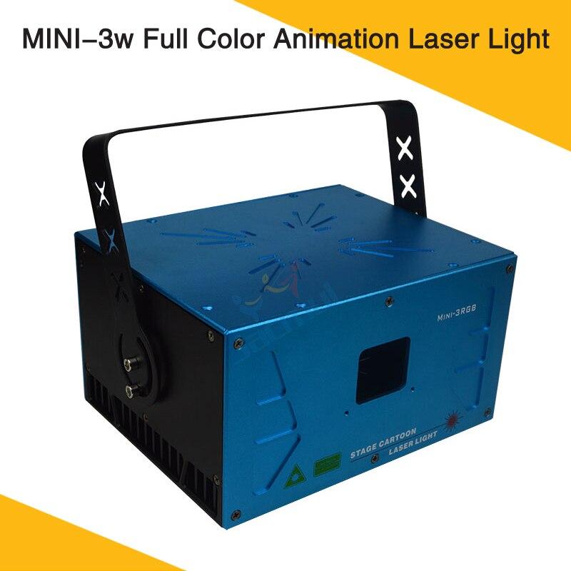 Işıklar ve Aydınlatma'ten Sahne Aydınlatması Efekti'de High End Mini 3w RGB Tam Renkli animasyon lazeri sahne aydınlatması Için Gece Kulübü KTV Parti title=