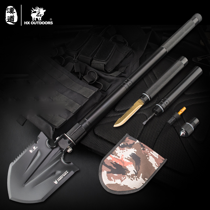 Hiking Outdoor Camping Shovels Multifunctional Chinese Folding Shovel Outdoor Survival EDC Pocket Tools Knife Saw outdoor multifunction camping tools axe aluminum folding tomahawk axe fire fighting rescue survival hatchet