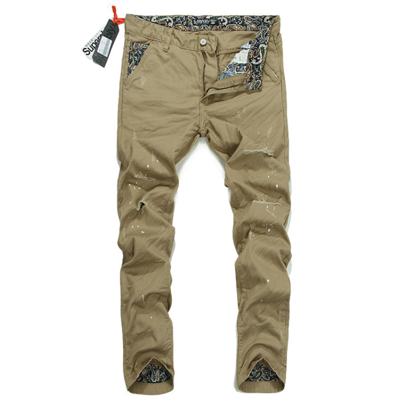 2017 Casual Denim Khaki Pants Ripped Mens Jeans Trousers Brand Superably Jeans Men Cargo Pants With Dirty Design 28-38 U203 2017 fashion mens jeans straight denim biker jeans men trousers new famous brand superably jeans skull ripped pants u292