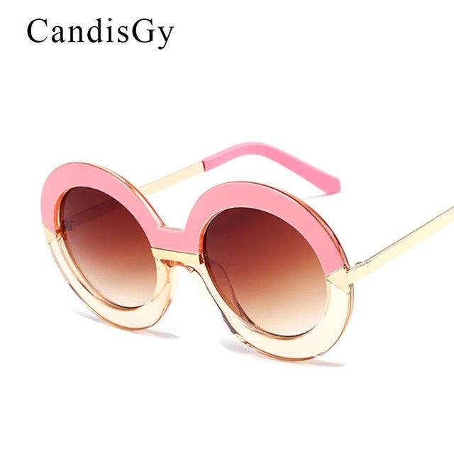 Oversized Big Tamanho Grande Rodada Do Vintage Moldura de Espelho Óculos De  Sol Gradiente Mulheres UV400 90788055f7