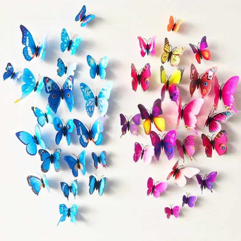 Free Shipping Xmas Decor 12pcs PVC 3d Butterfly Wall Decor Butterflies Wall Stickers Art Decals Home Decoration Room Wall Art