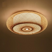 LukLoy Rustic Japanese LED Ceiling Lamp Hand woven Bamboo Wicker Rattan Round Ceiling Light Bedroom Living Room Lighting Fixture