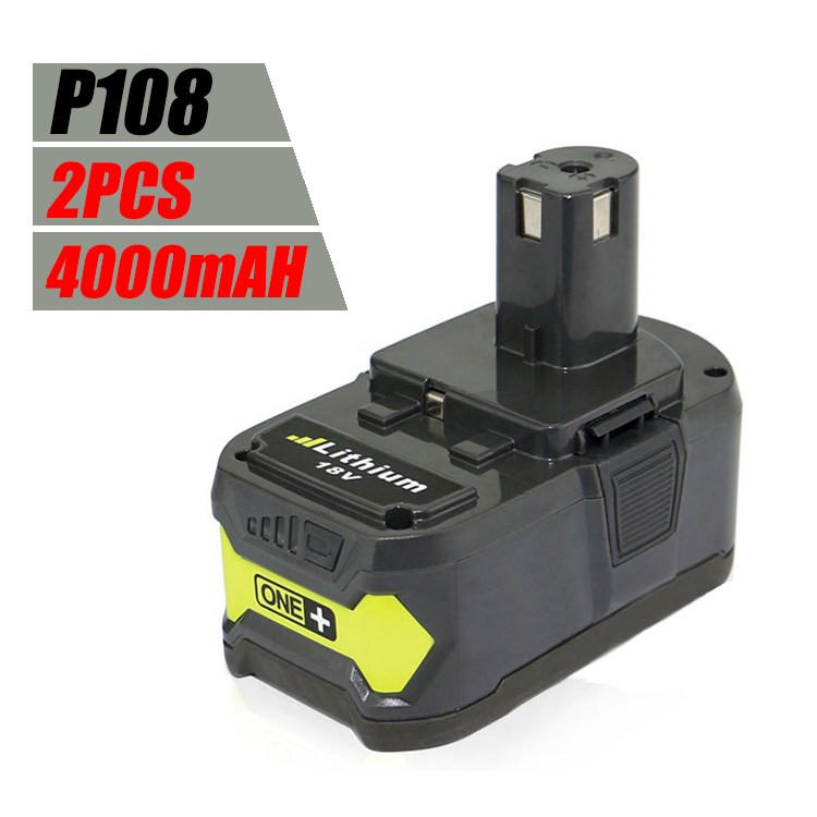 2 PCS New For Ryobi 18V 4000mAh P108 RB18L40 Lithium Ion High Capacity Rechargeable Power Tools Battery Ryobi ONE+