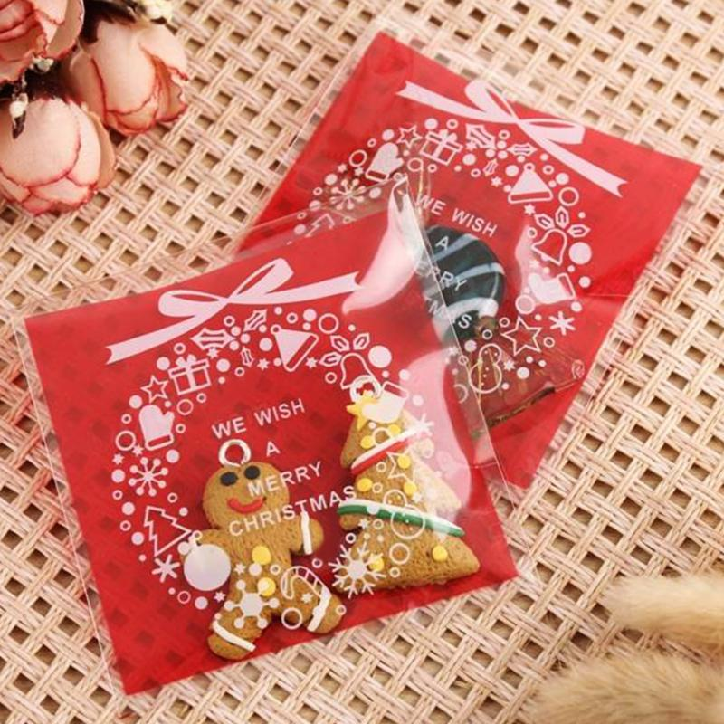 100PCS/Pack Christmas Santa Plastic Gift Bags Christmas Cookies ...