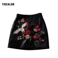 YOCALOR Haute Qualité Avec Brodé Floral Faux Pu En Cuir Mini jupes Sexy Femmes Une Ligne Fleur De Fourrure Jupe Rétro Zipper noir