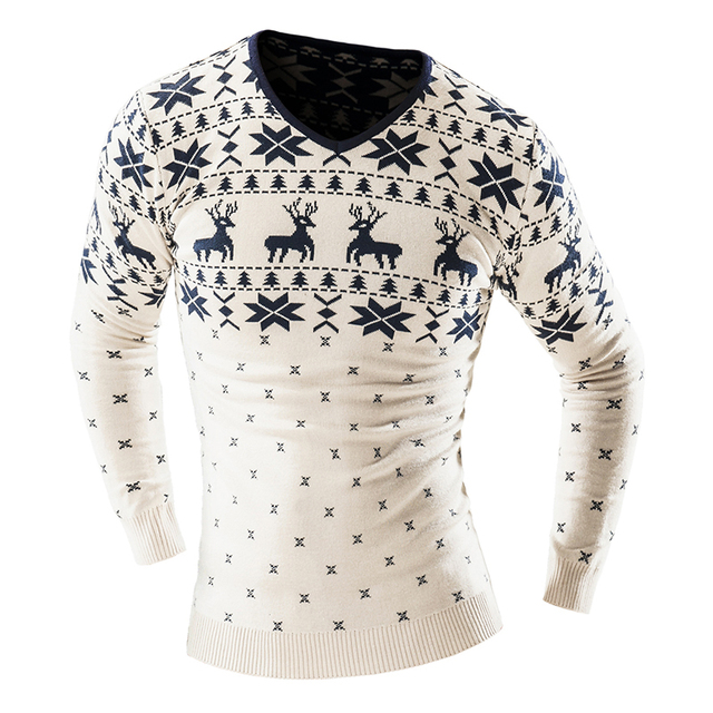 2017 Autumn Winter Pullover Men Christmas  Sweater Jumper V Neck Deer Pattern Slim Fit Knitted Christmas Sweaters Knitwear 4