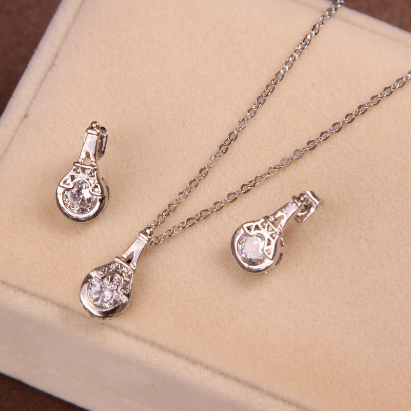 Promotion Trendy Women's  Silver Color round CZ pendant Necklace Earrings Sets Jewelry Sets Gifts wholesale CZ Jewelry set