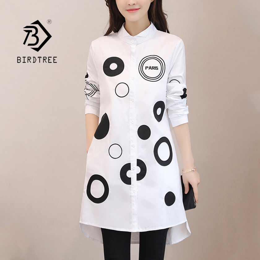Women Letter Dot Embroidery Long White Blouse Full Sleeve Female Front Short Back Long Shirt Stand Collar 4XL Oversize Top T9642