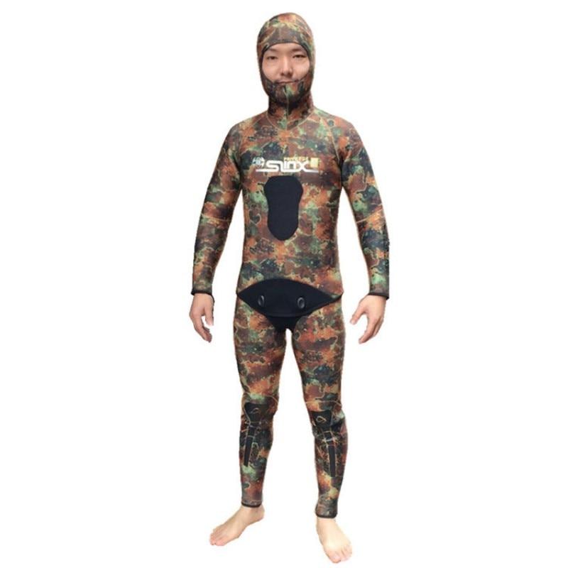 Nouveau 5 MM néoprène Camouflage combinaison avec capuchon capuchon 2 pièces Camo John costume de plongée sous-marine combinaison humide plongée sous-marine plongée sous-marine surf