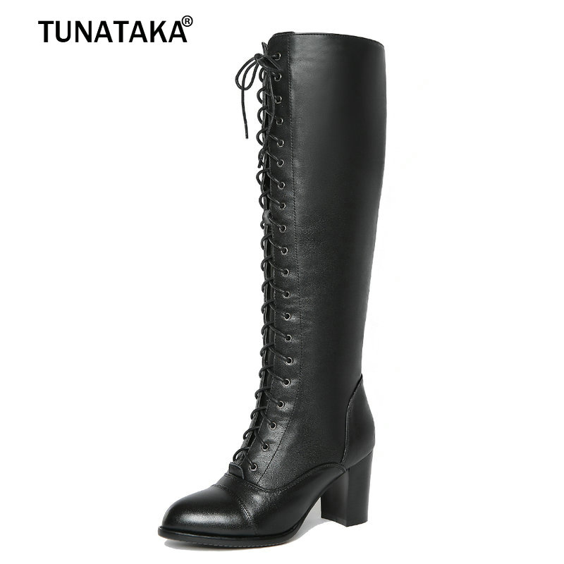 Womans Genuine Leather Knee High Boots Fashion Lack Up Party Women Boots Square Heel Side Zipper Winter Comfy Shoes Black Color nayiduyun new fashion thigh high boots women genuine leather round toe knee high boots high heel party pumps casual shoes
