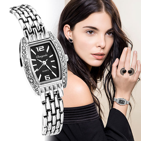 Women Rhinestone Quartz Watches Fashion New Design Women Girl Ladies Luxury Stainless Steel Black And White Wristwatches Relojes