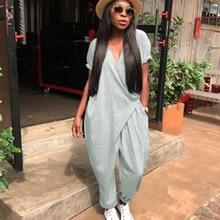 Women Casual Loose Jumpsuit Deep V Neck Short Sleeve Tie-Waist Pocket Summer Plus Size Playsuit Rompers Grey/Blue/Black