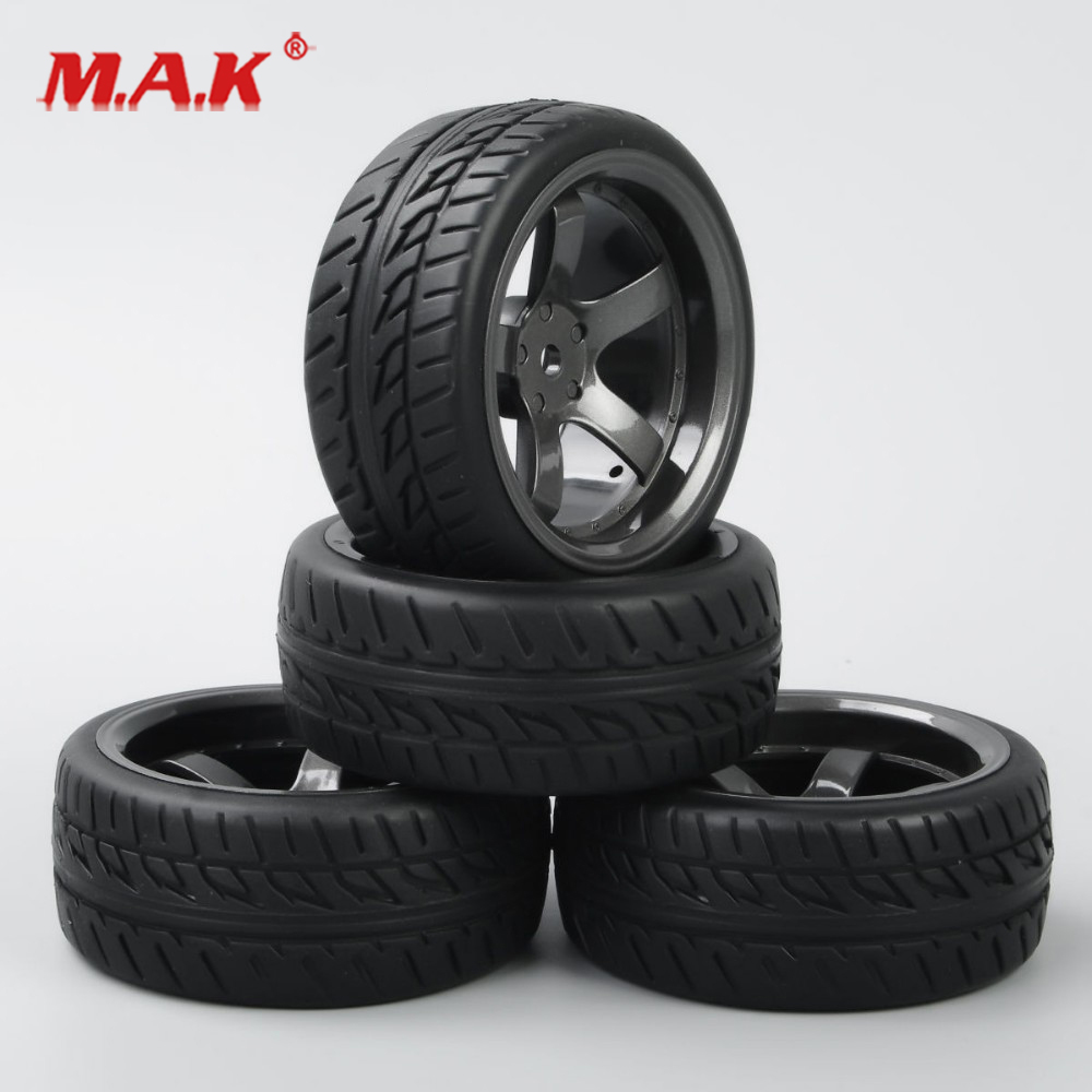 4 Pcs/Set 1/10 Scale On Road Racing Rubber Tires And Wheel Rim With 6mm Offset And 12mm Hex Fit HSP HPI RC Model Car Accessories