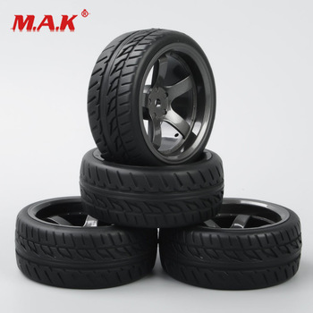 4 Pcs/Set 1/10 Scale On Road Racing Rubber Tires and Wheel Rim with 6mm Offset and 12mm Hex fit HSP HPI RC Model Car Accessories image