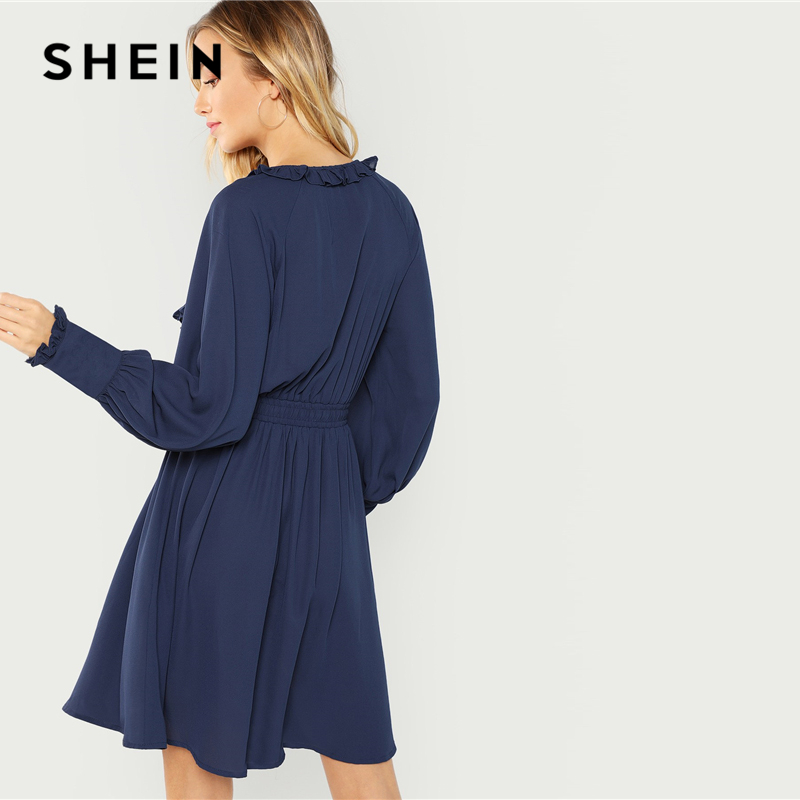 9ac72cc1c8 SHEIN Navy Office Lady Elegant Ruffle Detail Button Front Natural Waist  Long Sleeve Solid Dress 2018 Autumn Minimalist Dresses-in Dresses from  Women's ...