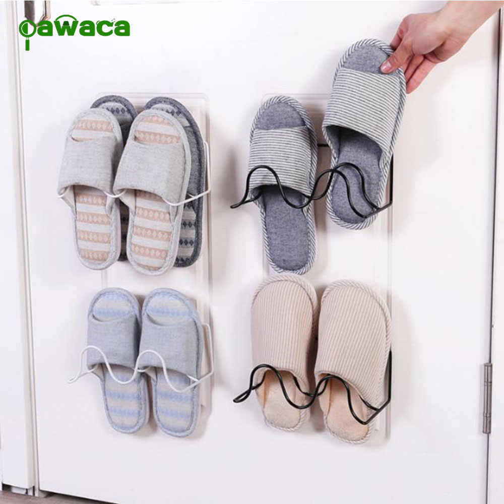 1Pcs Double Shoe Rack Wall Paste Adjustable Slipper Organizer Shoes Display Shoe Holder Storage Bathroom Organizer Tool