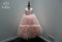 Cute Pink Lace Applique Flower Girl Dresses For Weddings Scoop Tulle Ruched Tiered Ball Gowns For Girls Prom Gown Chindren AF08