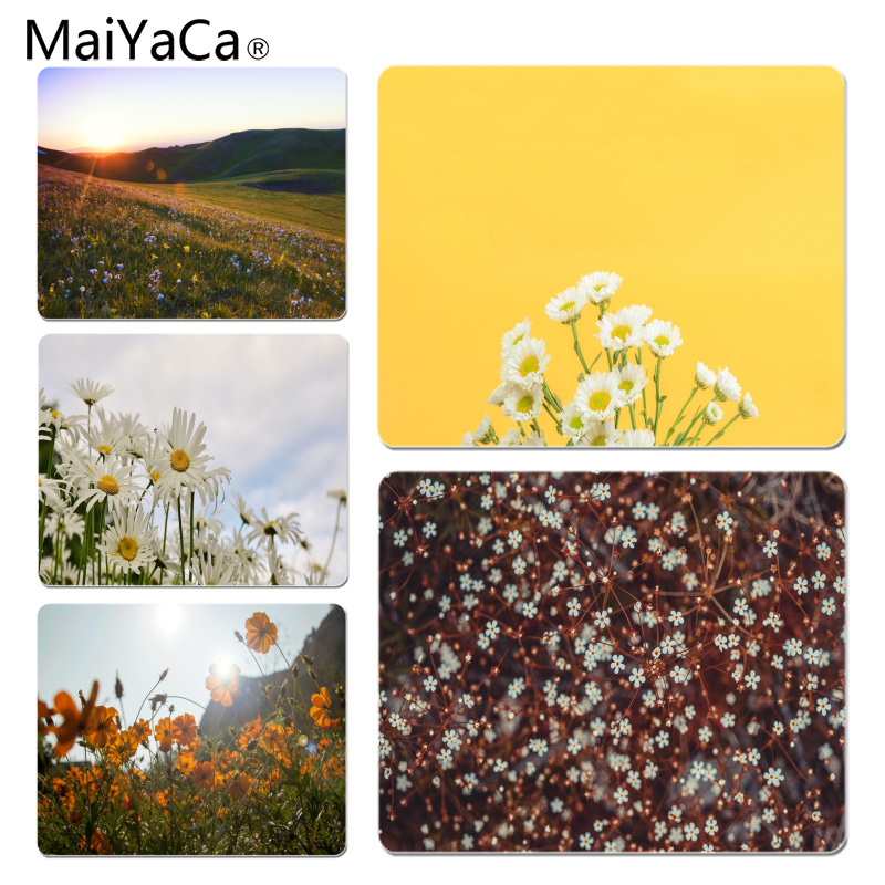 MaiYaCa Vintage Daisies on a yellow background Customized laptop Gaming mouse pad Size for 18x22cm Rubber Rectangle Mousemats