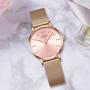 Image 4 - CIVO Fashion Wrist Watches For Women Waterproof Slim Steel Mesh Strap Quartz Watches Women Simple Casual Clock Relogio Feminino