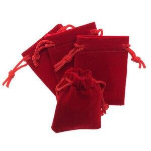 Image 4 - 100pcs/lot 5x7, 7x9, 8x10, 10x12cm Drawstring Velvet Bags & Pouches Jewelry Bags Gift Packaging Bag Customize Custom Print Logo
