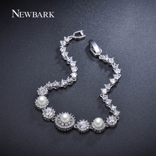 NEWBARK 3pcs Simulated Pearl Bracelet 7pcs Flower Bracelets For Women Tiny CZ Diamond Paved White Gold Plated Jewelry Pulseira