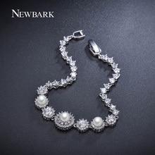 NEWBARK 3pcs Simulated Pearl Bracelet 7pcs Flower Bracelets For Women Tiny CZ Diamond Paved White Gold Plated Jewelry Pulseira
