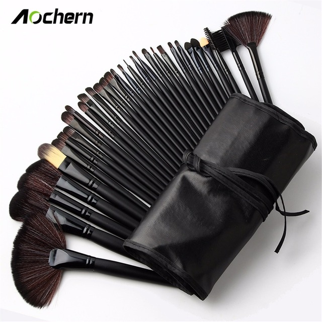 Aochern 32 Pcs Facial Makeup Brushes Foundation Eye Shadows Lipsticks Powder Make Up Brushes Tools with Leather Cosmetic Bag