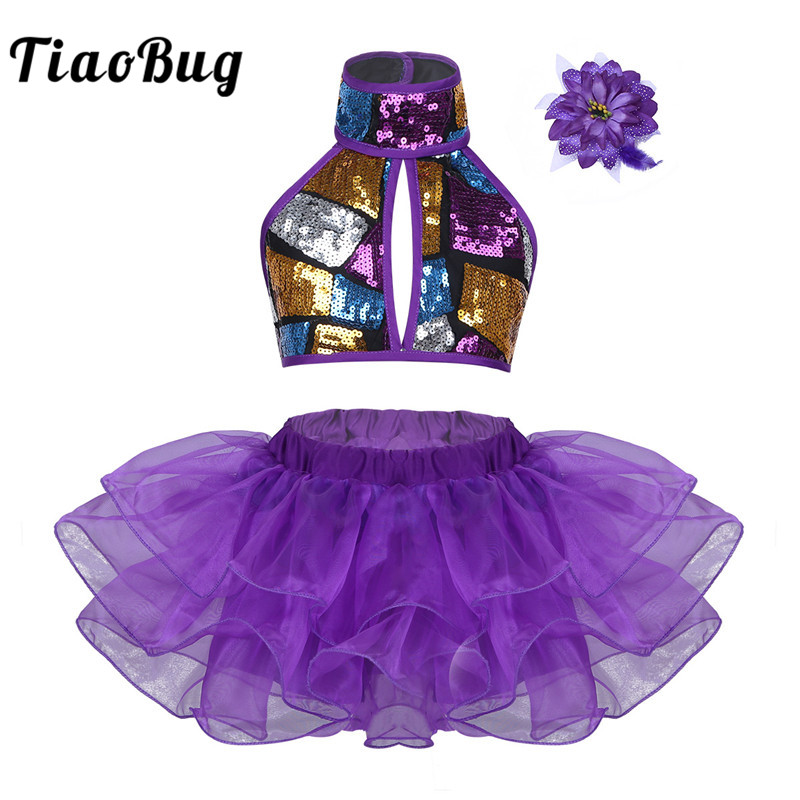 TiaoBug Kids Girls Sequined Stage Performance Lyrical Jazz Dance Costumes Halter Crop Top Ballet Tutu Skirt Flower Hair Clip Set
