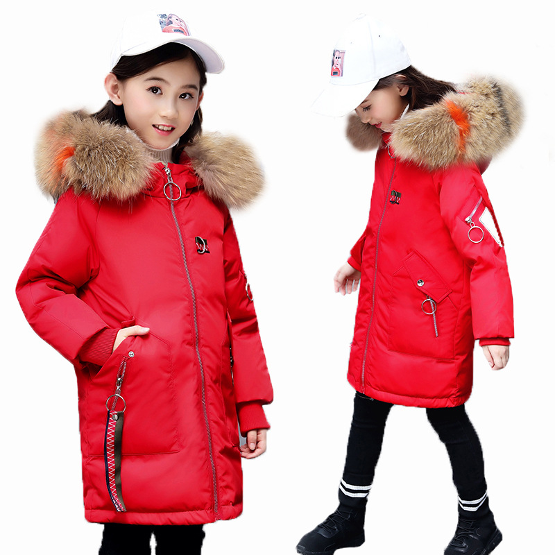 Children Girls Winter Coat 2018 Fashion Fur Hooded Thick Cotton Down Warm Clothes Long Kids Parka Jacket Outwear Size 8 10 12 14 купить в Москве 2019