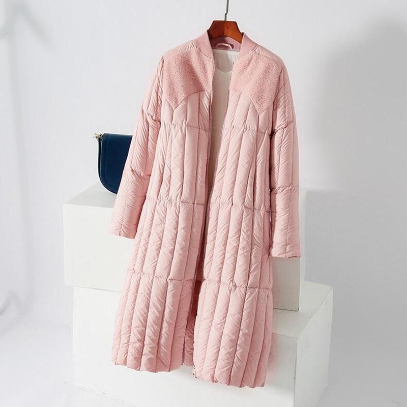 2018 Women Winter New O-Neck Light Thin   Down   Jacket 90% White Duck   Down     Coat   Fashion Warm Female Slim Long Outerwear Parkas