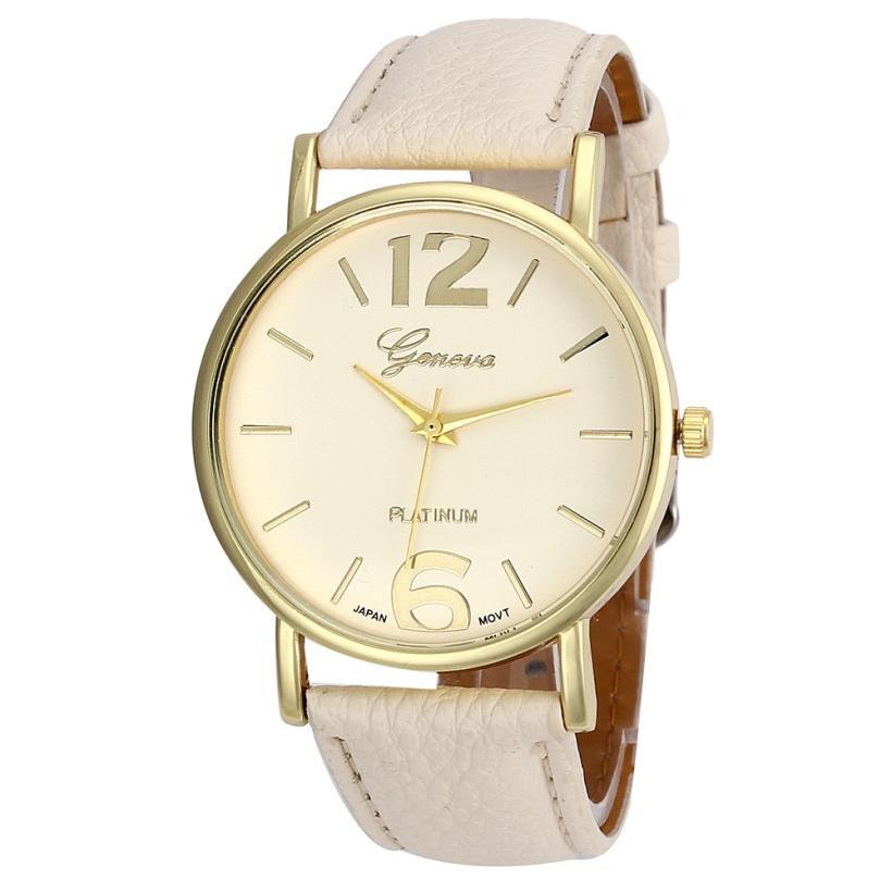 cf78e3a2a9bb0 2017 Relogio Feminino Kobiety Beżowy Analog Quartz Dial Godziny Czas Zegar  Cyfrowy Zegarek Unisex Skórzany Zegarek Reloj Mujer Dama