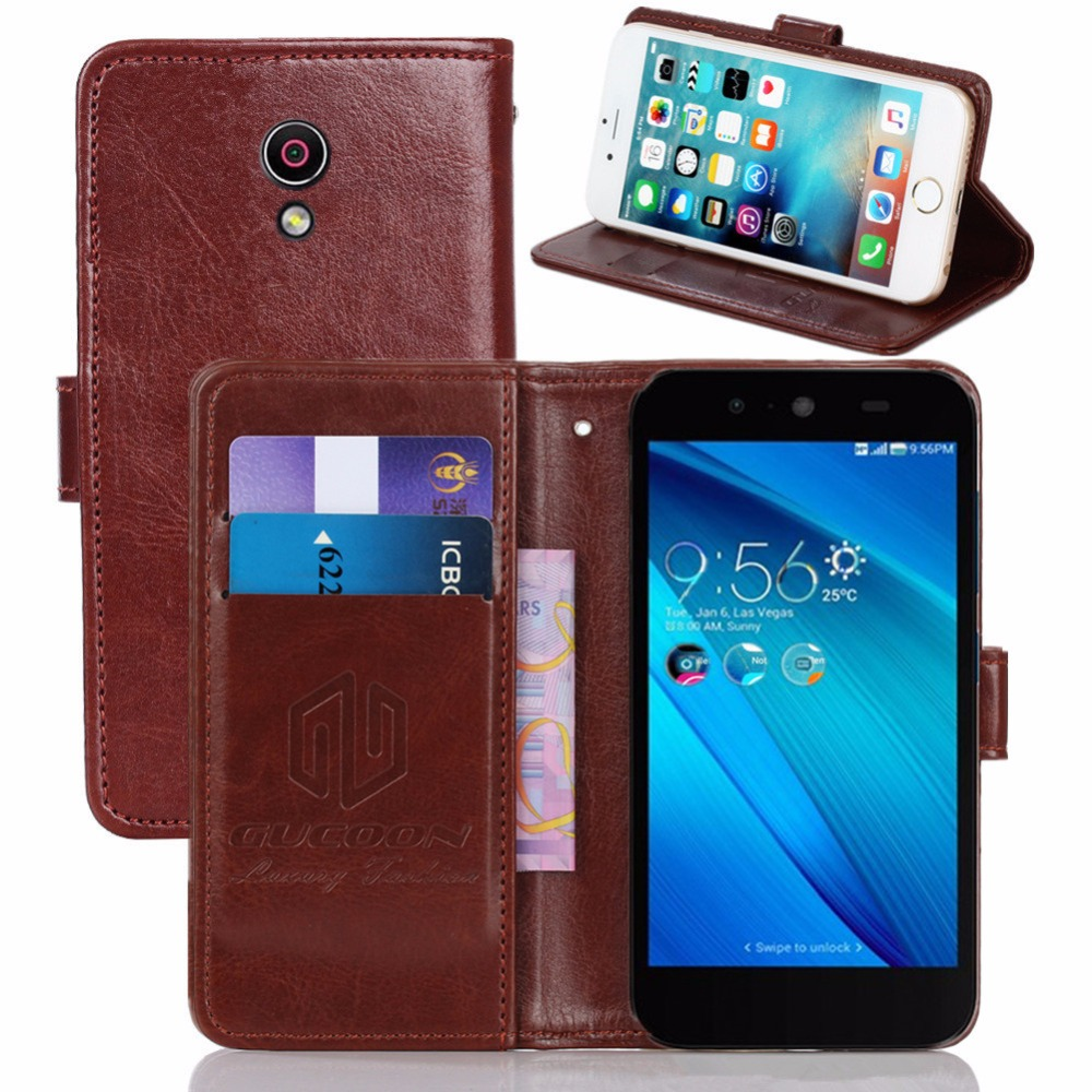 GUCOON Vintage Wallet Case for <font><b>Asus</b></font> <font><b>Live</b></font> <font><b>G500TG</b></font> 5.0inch PU Leather Retro Flip Cover Magnetic Fashion Cases Kickstand Strap image