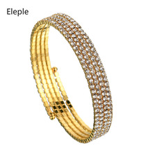 Eleple Korea Luxury Brilliant Full Stone Zircon Fashion Bracelets for Womens Open Adjustable Bracelet Jewelry Wholesale S-B09