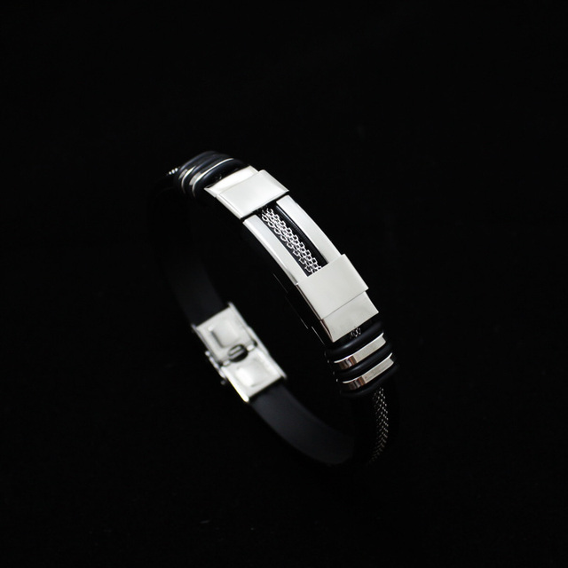 Stainless Steel Silicone Bracelet Men Jewelry