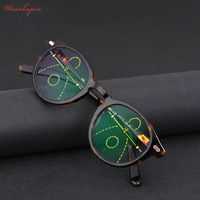 WEARKAPER Acetate Round Frame Adjustable Vision Transition Sun Photochromic Progressive Reading Glasses Multifocal Eyeglasses