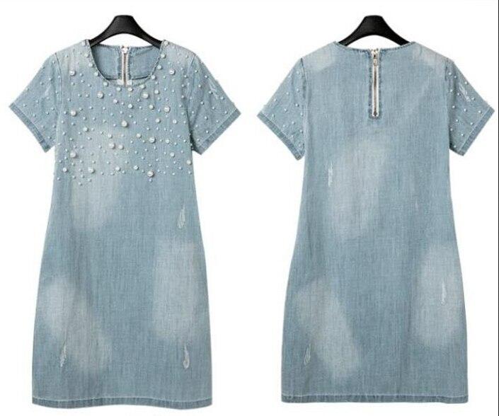 Джинсовый сарафан большого размера 5XL, женские повседневные платья размера плюс, джинсовые платья с вышивкой из бисера, вечерние летние платья больших размеров