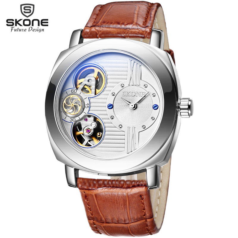 SKONE Automatic Watches Men Mechanical Quartz Dual Movt New Brand Genuine Leather Casual Sport Skeleton Watch relogio masculino skone relogio 9385