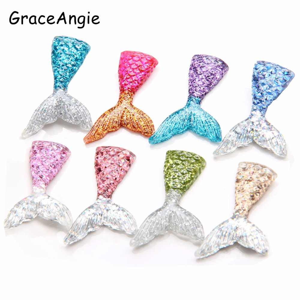10pcs Cute Resin Mermaid Slime Charm Handmade Crafts Cameo Cabochon Baby Jewelry Findings DIY Sequin Fish Tail Phone Arts Crafts