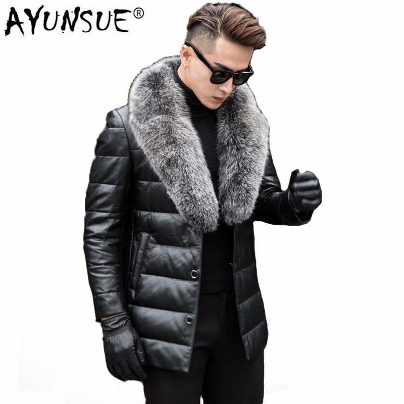 AYUNSUE Leather Jacket Men Winter Thick Warm Second Layer Of Sheepskin Coat For Men Down Jacket Fox Fur Collar Outwear LWL1088