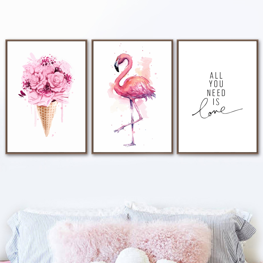 FP Swan Ballet Girl Poster Wall Art Canvas Painting Nordic Style Kids Room Deco