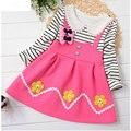 2017 Primavera niña bebé niño ropa de diseño de marca vestido de flores para la niña de la ropa de rayas princesa vestidos de fiesta informal de espesor