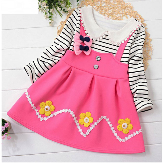 2017 Spring girl baby child clothes brand design striped flower dress for girl baby clothing casual party thick princess dresses
