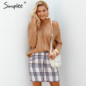 Image 4 - Simplee אלגנטי קדמי רוכסן טוויד חורף חצאית נשים 2018 אופנה רב משובץ חמוד חצאית לנשים סתיו רירית מיני חצאית