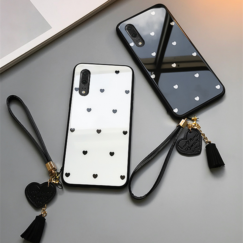 For samsung galaxy A30 A50 A70 A20 A40S Tempered Glass Case Love heart Cover For Samsung For samsung galaxy A30 A50 A70 A20 A40S Tempered Glass Case Love heart Cover For Samsung A50 A70 A30 A20 Tassel Lanyard Funda