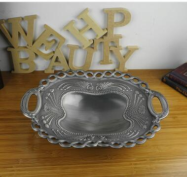 40 29cm Large Size Rectangle Retro Carved Flower Metal Fruit Bowl Decorative Bowls For Kitchen Supplies Sg090 In Storage Trays From Home