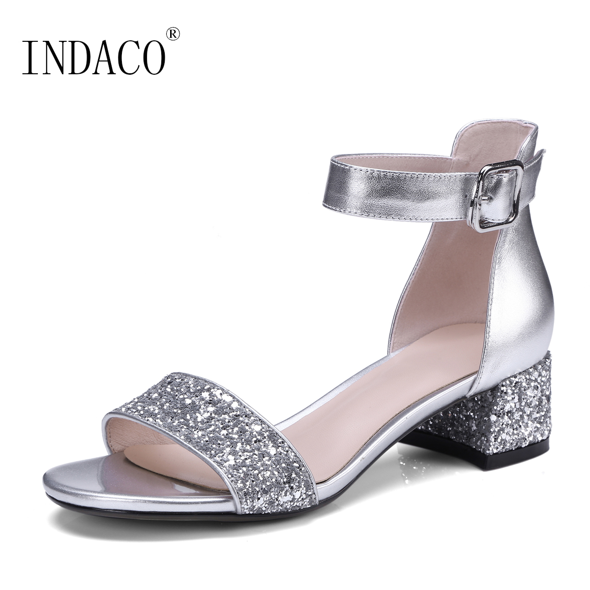Silver Black Glitter Leather Summer Sandals Ankle Strap Thick High Heel  Cover Heel Shoes 4cm Sandalen Dames c2856600fd5e