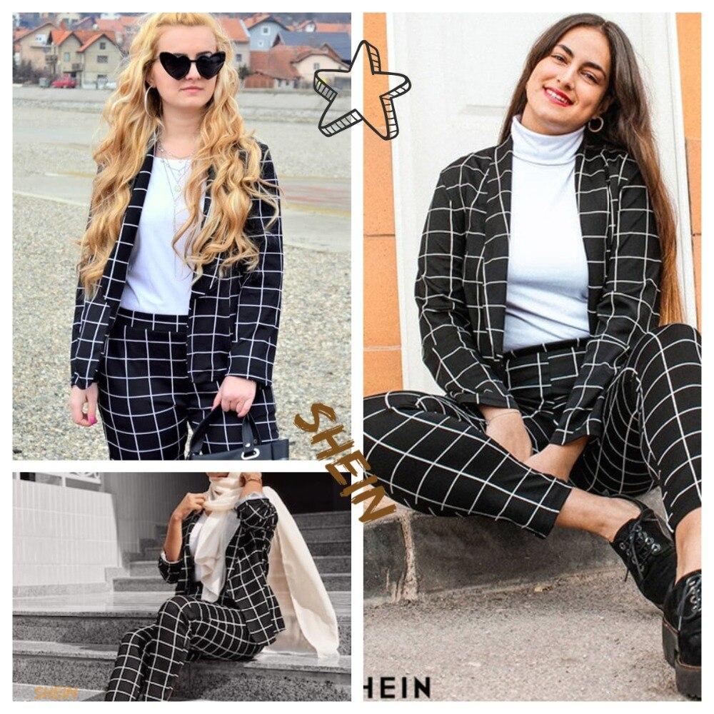 SHEIN Black Stretchy Grid Print Shawl Collar Plaid Long Sleeve Blazer Pants Set Women Autumn Workwear Morden Lady Twopiece 4